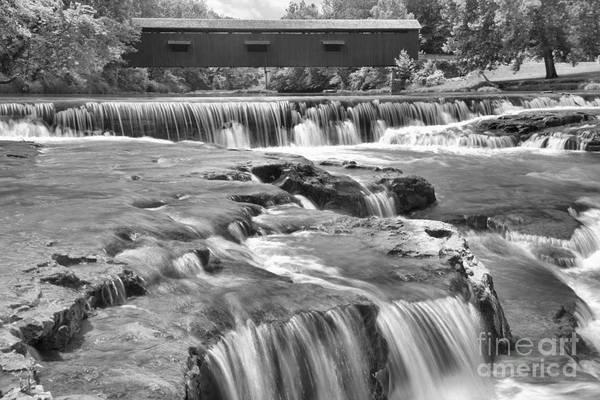 Photograph - Cataract Falls Cascades Under The Bridge Black And White by Adam Jewell