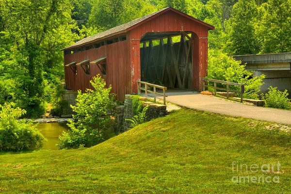 Photograph - Cataract Falls Covered Bridge Landscape by Adam Jewell
