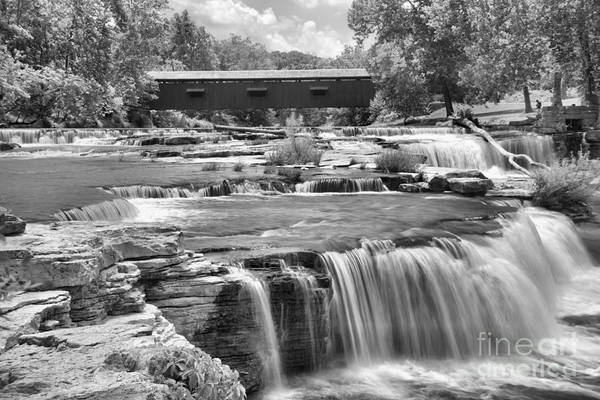 Photograph - Cataract Falls Scenic Cascades Black And White by Adam Jewell