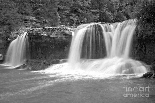 Photograph - Cataract Falls Triple Plunge Black And White by Adam Jewell