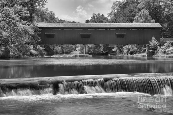 Photograph - Cataract Falls Under The Bridge Black And White by Adam Jewell