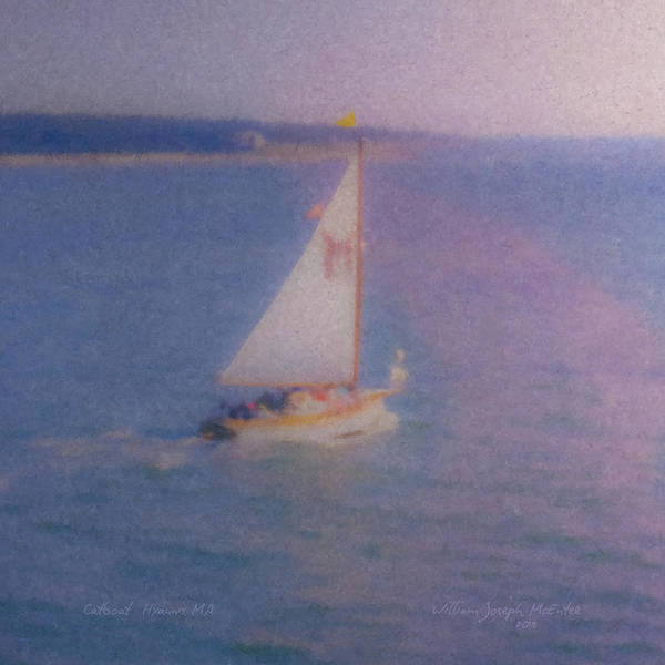 Painting - Catboat Leaving Hyannis Harbor by Bill McEntee
