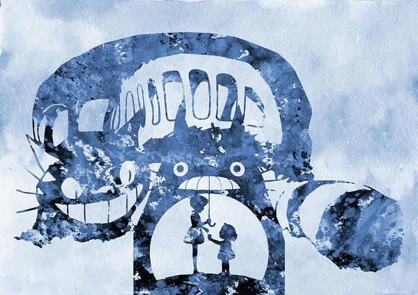 Totoro Digital Art - Catbus And Totoro-blue by Erzebet S