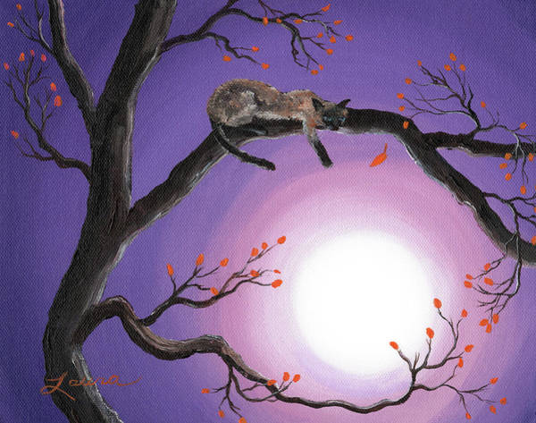Siamese Cat Painting - Catch A Falling Leaf by Laura Iverson