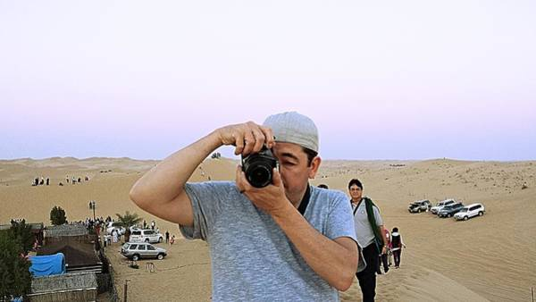 Photograph - Catching The Photographer - Al Ain Desert by Mario MJ Perron