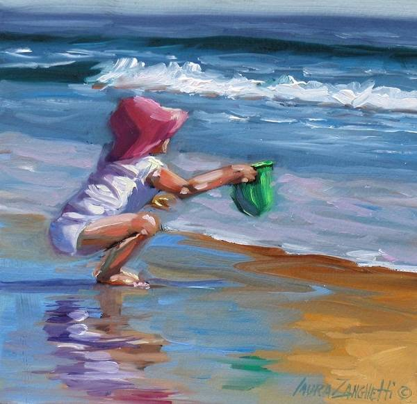 Coast Line Painting - Catching The Wave by Laura Lee Zanghetti