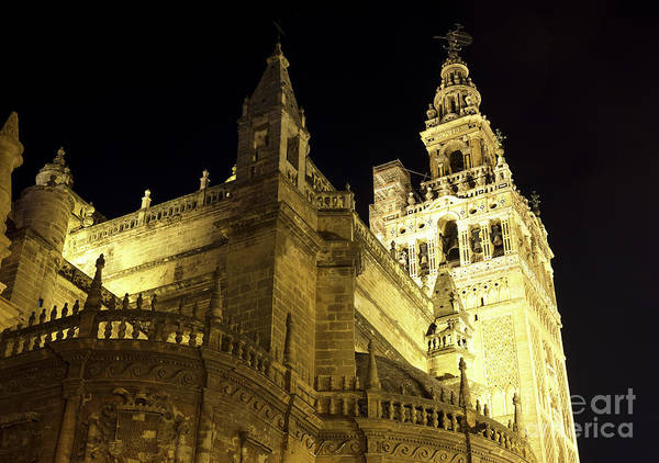 Catedral De Sevilla Wall Art - Photograph - Catedral De Sevilla En La Noche by John Rizzuto