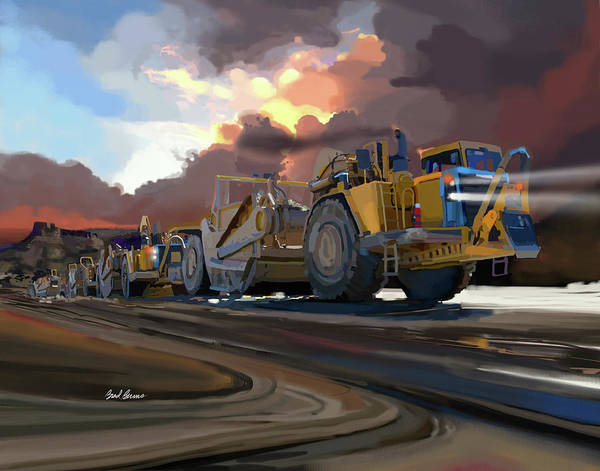 Construction Painting - Caterpillar Scrapers by Brad Burns