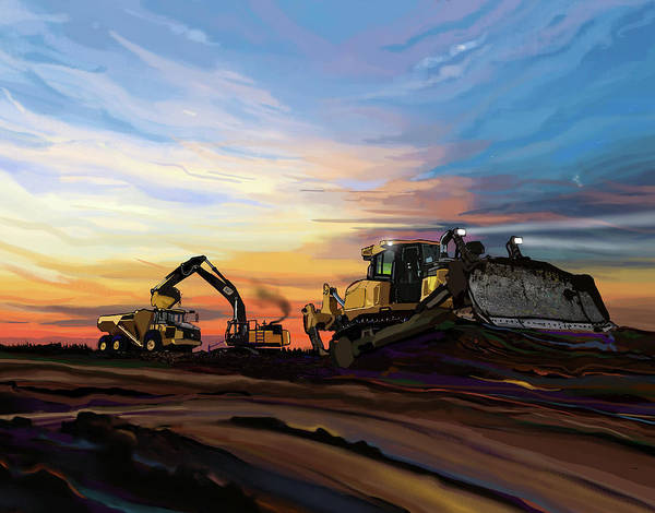 Construction Painting - Caterpillars In The Field by Brad Burns