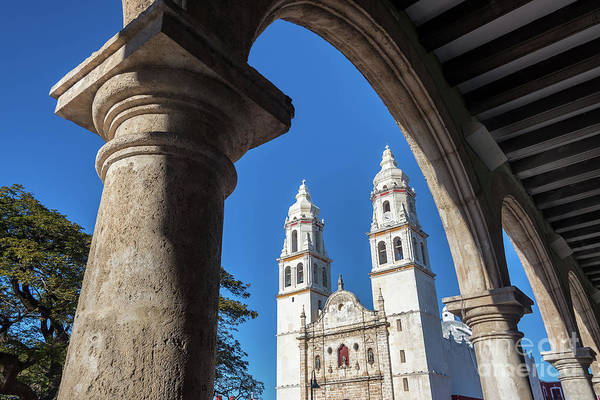 Campeche Photograph - Cathedral And Arches by Jess Kraft