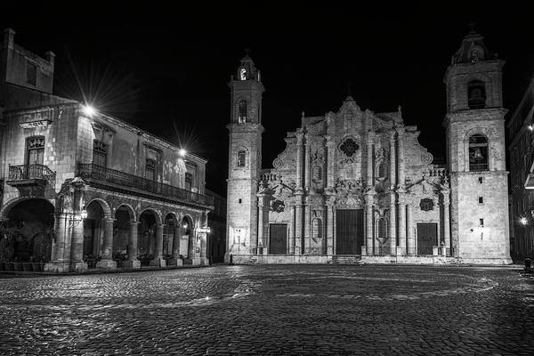 Photograph - Cathedral Havana Cuba Bw by Joan Carroll