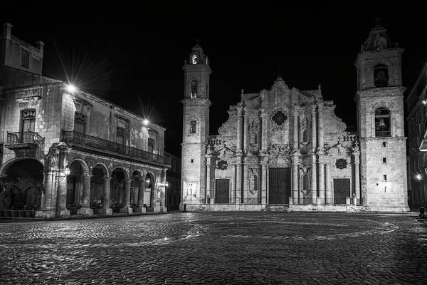Wall Art - Photograph - Cathedral Havana Cuba Bw by Joan Carroll