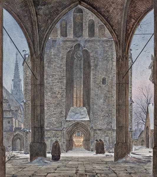 Wall Art - Drawing - Cathedral In Winter by Ernst Ferdinand Oehme