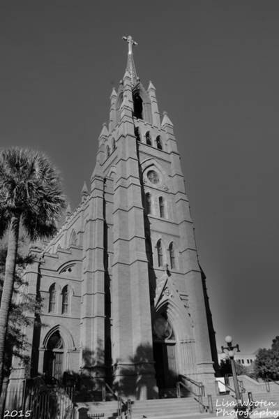 Photograph - Cathedral Of St John The Baptist Charleston S C Black And White by Lisa Wooten