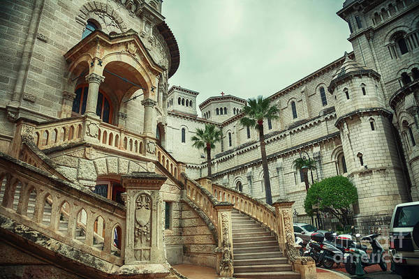 Photograph - cathedral of the Roman Catholic Archdiocese of Monaco in Monaco- by Ariadna De Raadt