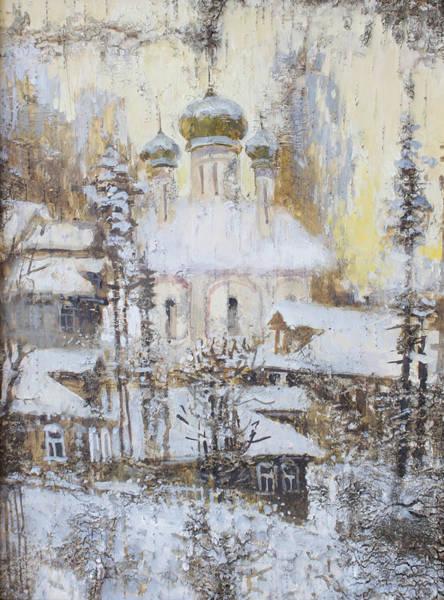 Painting - Cathedral Over The Snowy Village by Ilya Kondrashov
