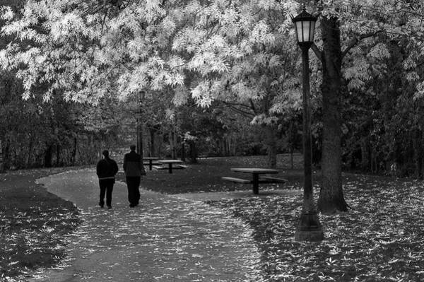 Cathedral Park In Fall Bw Art Print