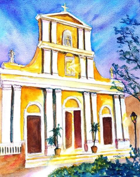 Painting - Cathedral San Juan At Dusk by Carlin Blahnik CarlinArtWatercolor