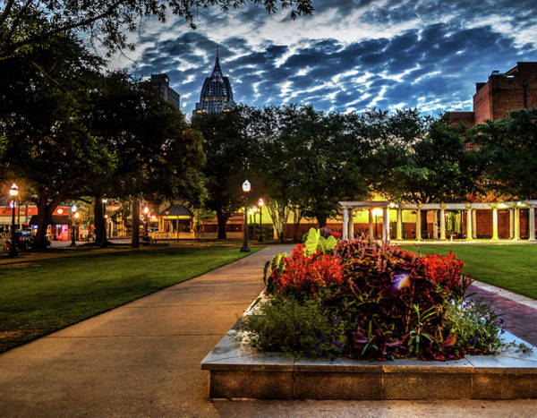 Photograph - Cathedral Square Morning With Clouds In Mobile Alabama by Michael Thomas