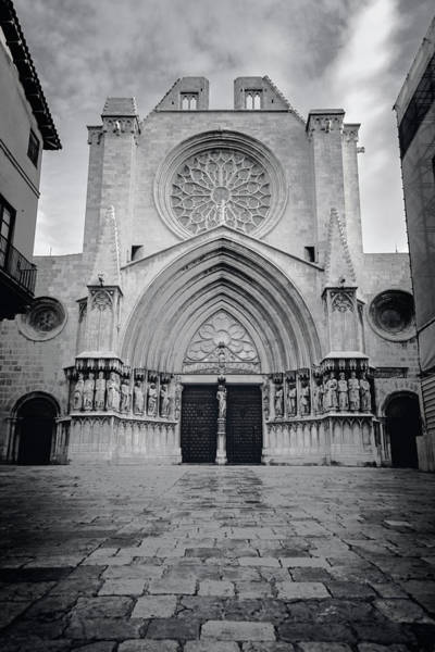 Photograph - Cathedral Tarragona Spain Bw by Joan Carroll