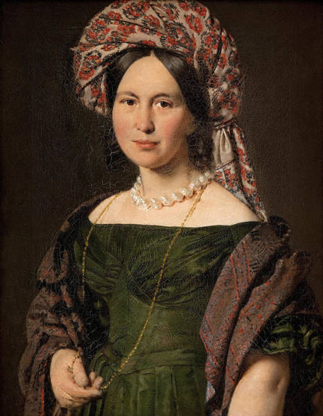 Wall Art - Painting - Cathrine Jensen Nee Lorenzen The Artist's Wife Wearing A Turban by Christian Albrecht Jensen
