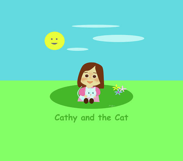 Drawing - Cathy And The Cat And A Sunny Day by Laura Greco