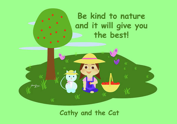 Drawing - Cathy And The Cat Are Kind To Nature by Laura Greco