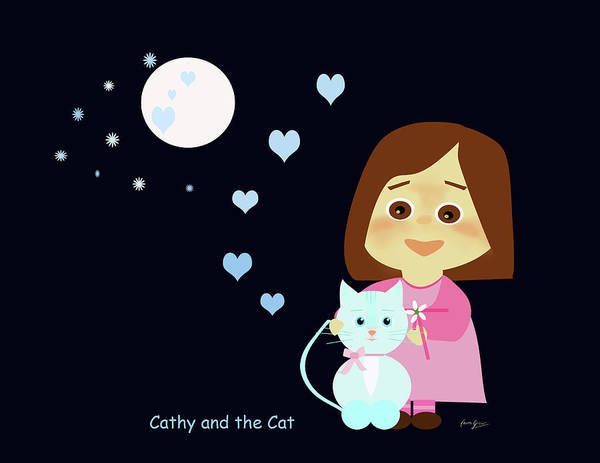 Painting - Cathy And The Cat At Night by Laura Greco