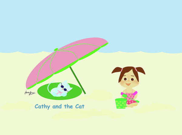 Drawing - Cathy And The Cat At The Beach by Laura Greco