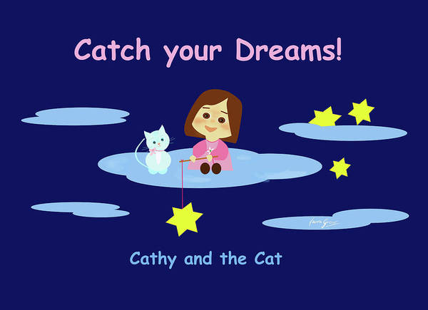 Drawing - Cathy And The Cat Catch Your Dreams by Laura Greco