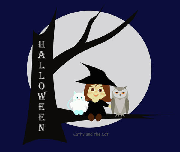 Painting - Cathy And The Cat Enjoy Halloween #2 by Laura Greco