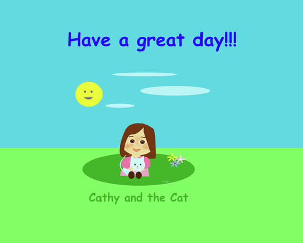 Painting - Cathy And The Cat Have A Great Day by Laura Greco