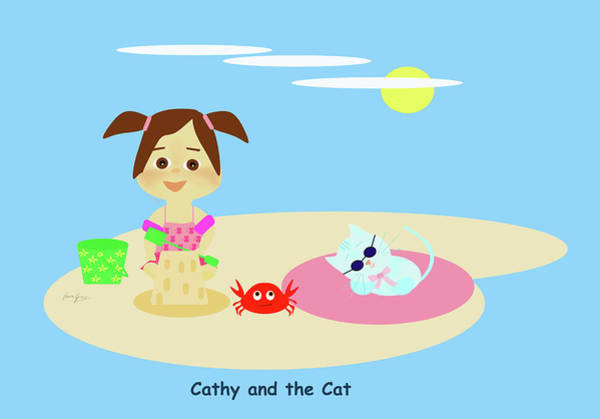 Drawing - Cathy And The Cat Have A New Friend by Laura Greco