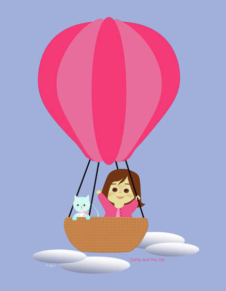 Drawing - Cathy And The Cat - Hot Air Balloon by Laura Greco
