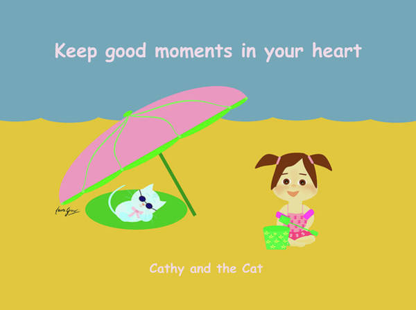 Drawing - Cathy And The Cat Keep Good Moments by Laura Greco