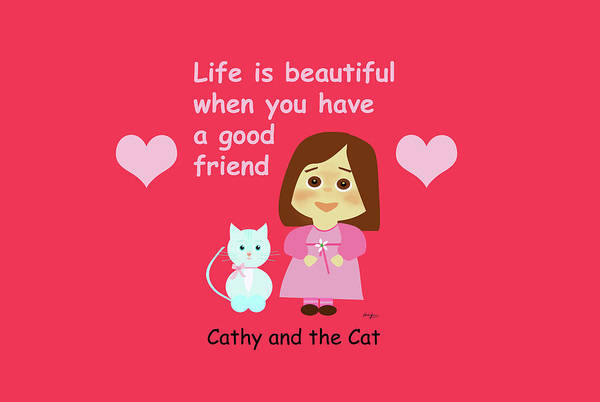 Painting - Cathy And The Cat Life Is Beautiful by Laura Greco