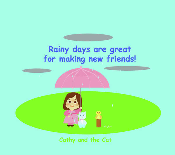 Drawing - Cathy And The Cat Rainy Days And Friends by Laura Greco