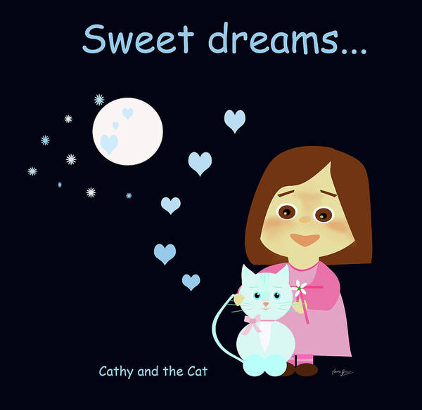 Cathy And The Cat Sweet Dreams Art Print