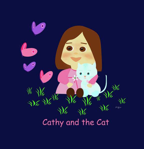 Painting - Cathy And The Cat With Butterflies  by Laura Greco