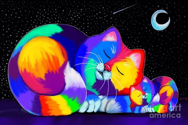Calico Kitten Wall Art - Drawing - Catnaps For Two by Nick Gustafson