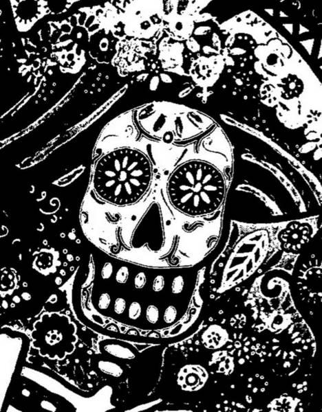 Harana Wall Art - Painting - Catrina Dia De Los Muertos by Pristine Cartera Turkus