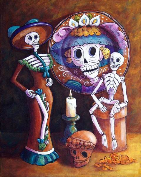 Wall Art - Painting - Catrina Group by Candy Mayer