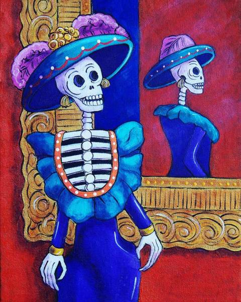 Wall Art - Painting - Catrina In The Mirror by Candy Mayer