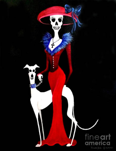 Wall Art - Painting - Catrina With Greyhound by Jennifer Howard