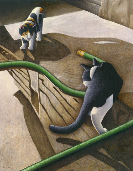 Cat Painting - Cats And Garden Hose by Carol Wilson