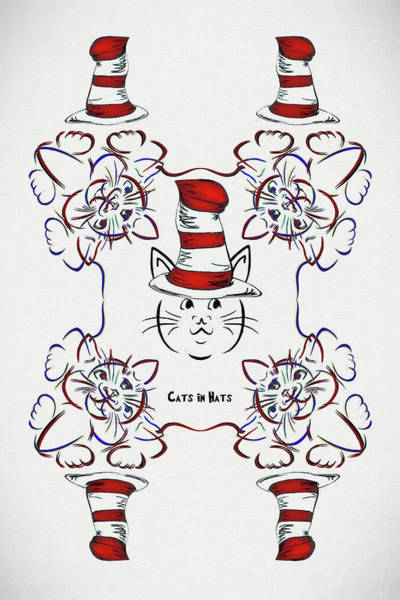 Cat In The Hat Wall Art - Digital Art - Cats And Hats by John Haldane
