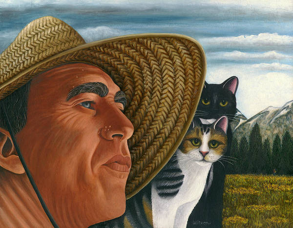 Wall Art - Painting - Cats And Sombrero by Carol Wilson