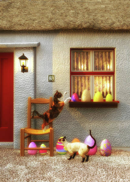 Painting - Cats At Easter Morning by Jan Keteleer