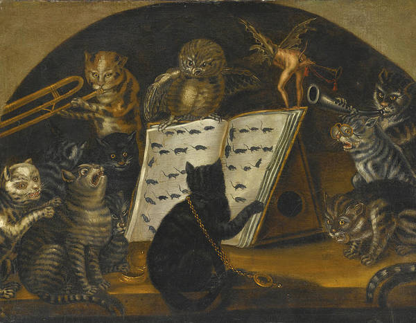 Wall Art - Painting - Cats Being Instructed In The Art Of Mouse-catching By An Owl by Lombard School