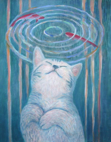 Tabby Cat Painting - Cat's Dream by Kazumi Whitemoon